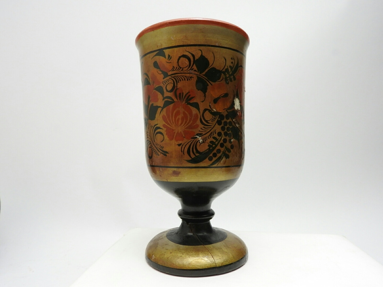Vintage Khokhloma footed cup