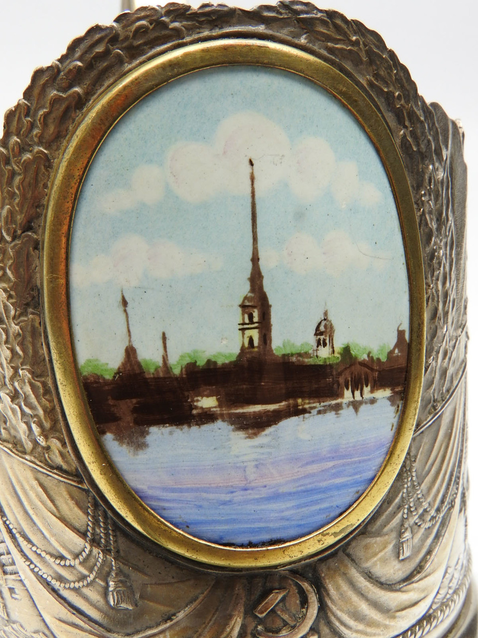 Vintage Tea Glass Holder with Enamel Plaque of a St. Petersburg Church