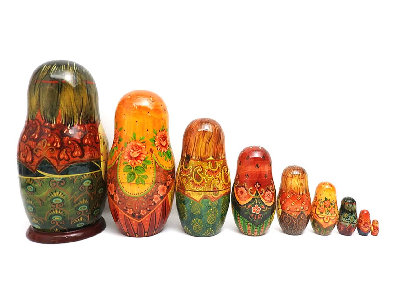 Russian Peasant Family Artistic Matryoshka Doll Backs of Doll