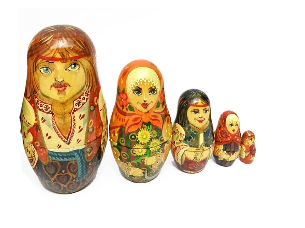 Ukrainian Peasant Family Artistic Matryoshka Doll