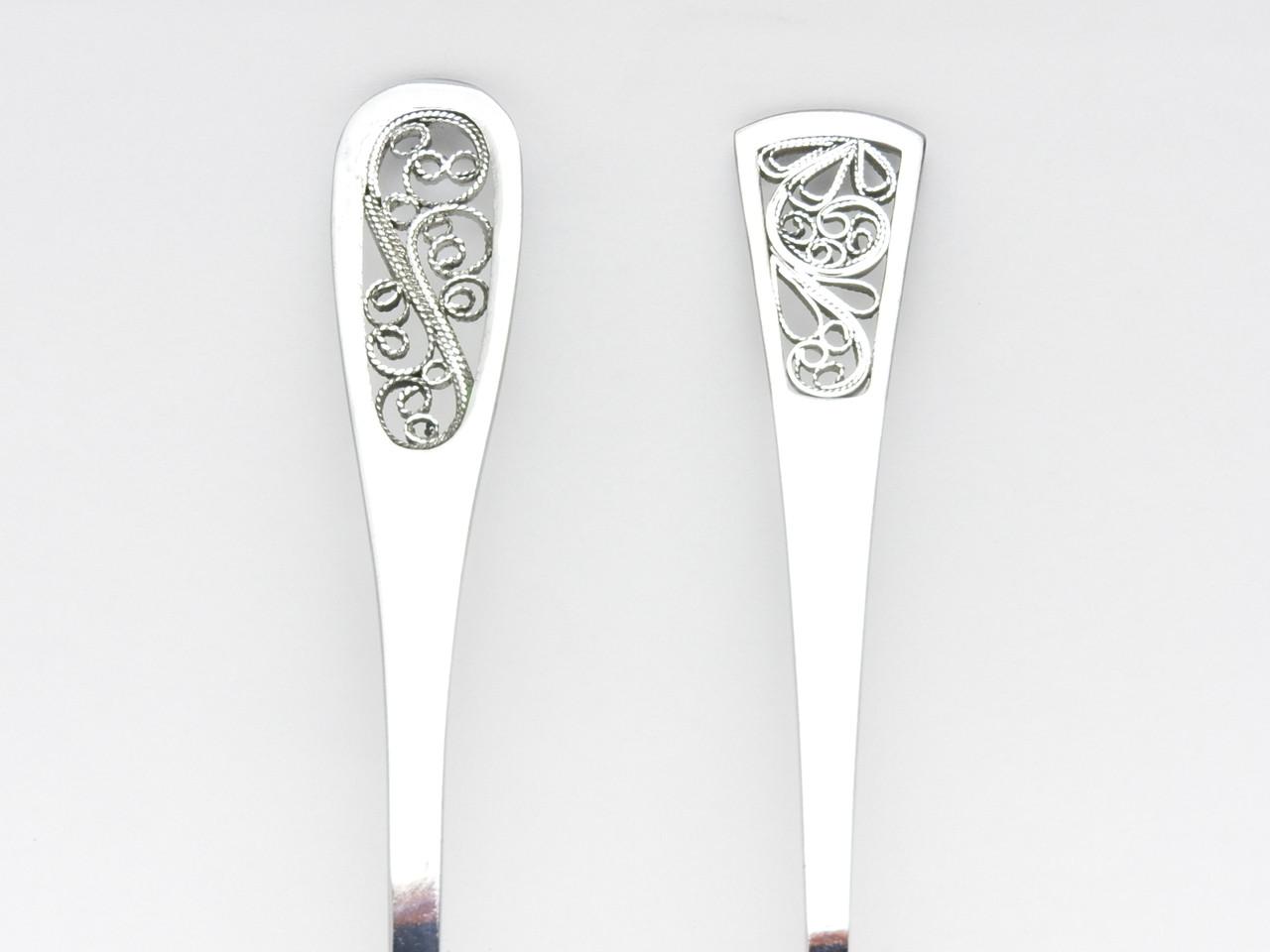 Retro filigree Tea Spoons, pair