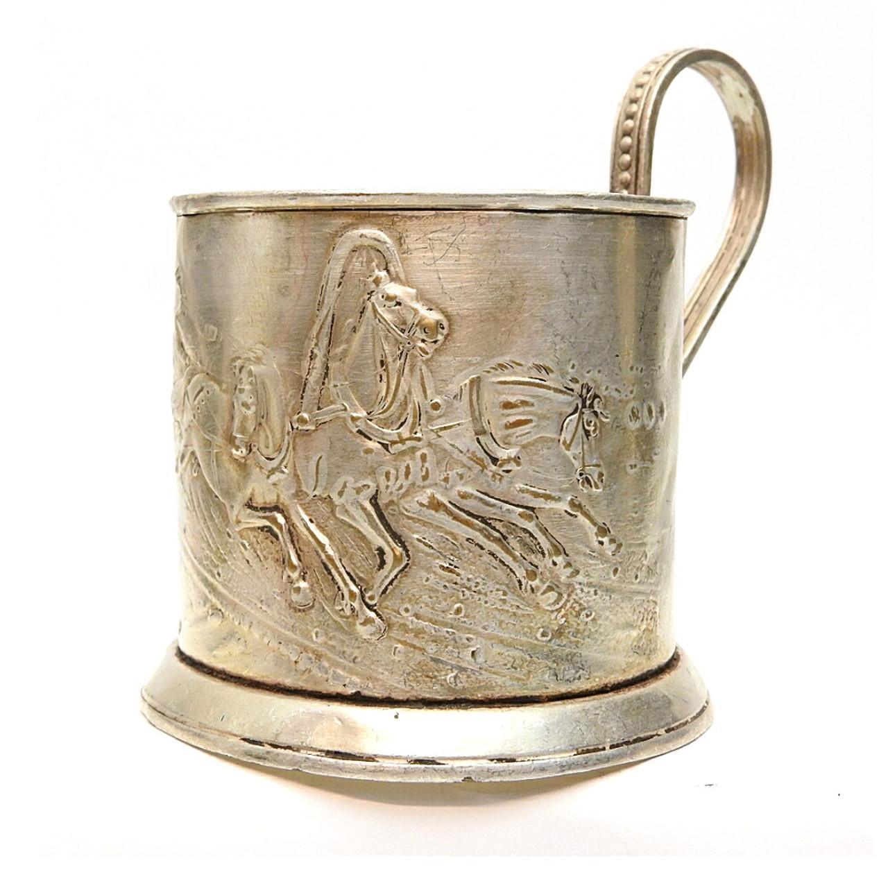 "Vintage ""Russian Troika"" Tea Glass Holder"