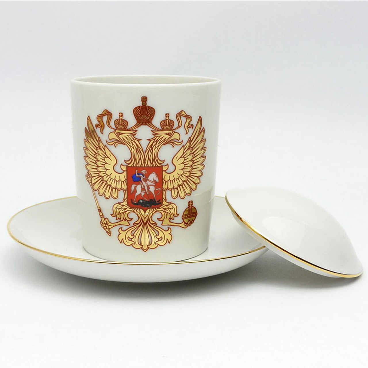 Russian Coat of Arms Double-Headed Eagle Covered Mug and Saucer