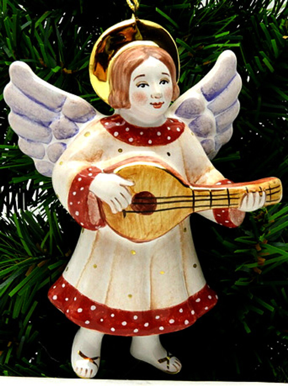 Angel with Lute Majolica Ornament