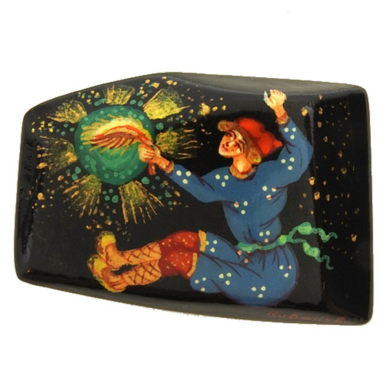 Russian  Lacquer Brooch Ivan and the Firebird