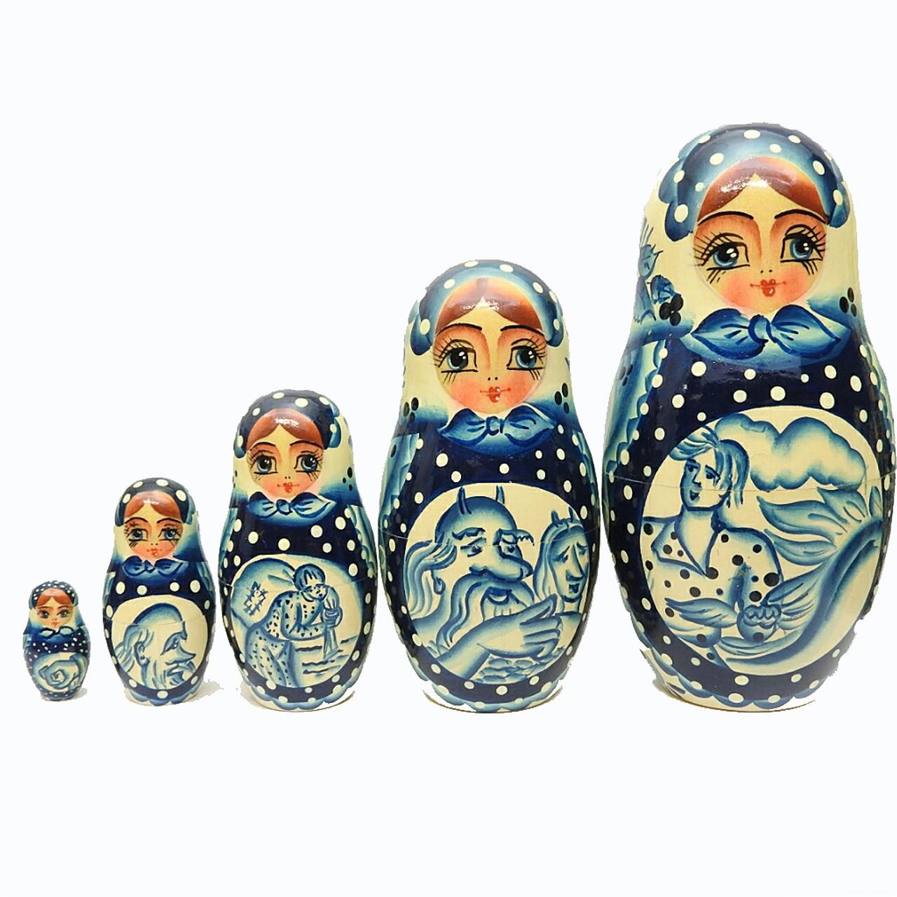 Gzhel Motifs from Khotkovo Artistic Matryoshka Doll