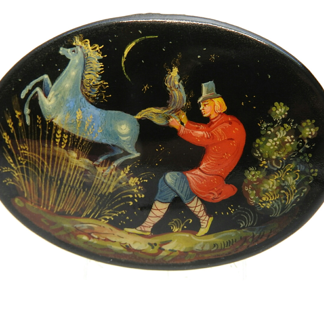 Ivan and the Magic Horse Lacquer Brooch