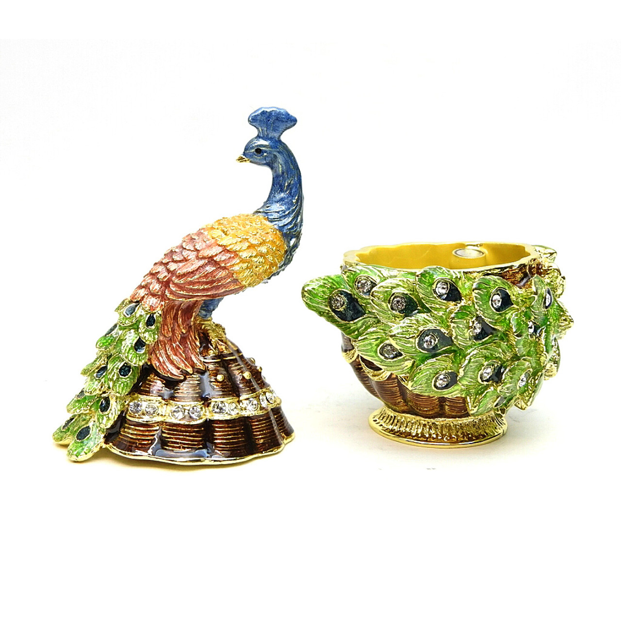 Small Peacock on Egg Jewelry Box