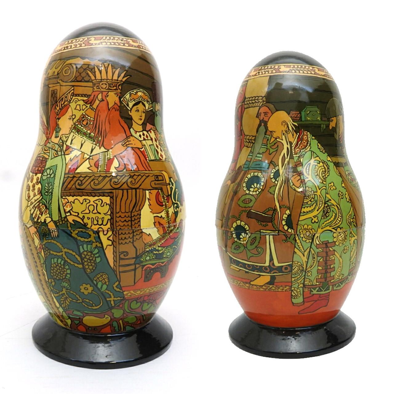 Tsar Saltan Bilibin Artistic Matryoshka   1st Doll Front and Back