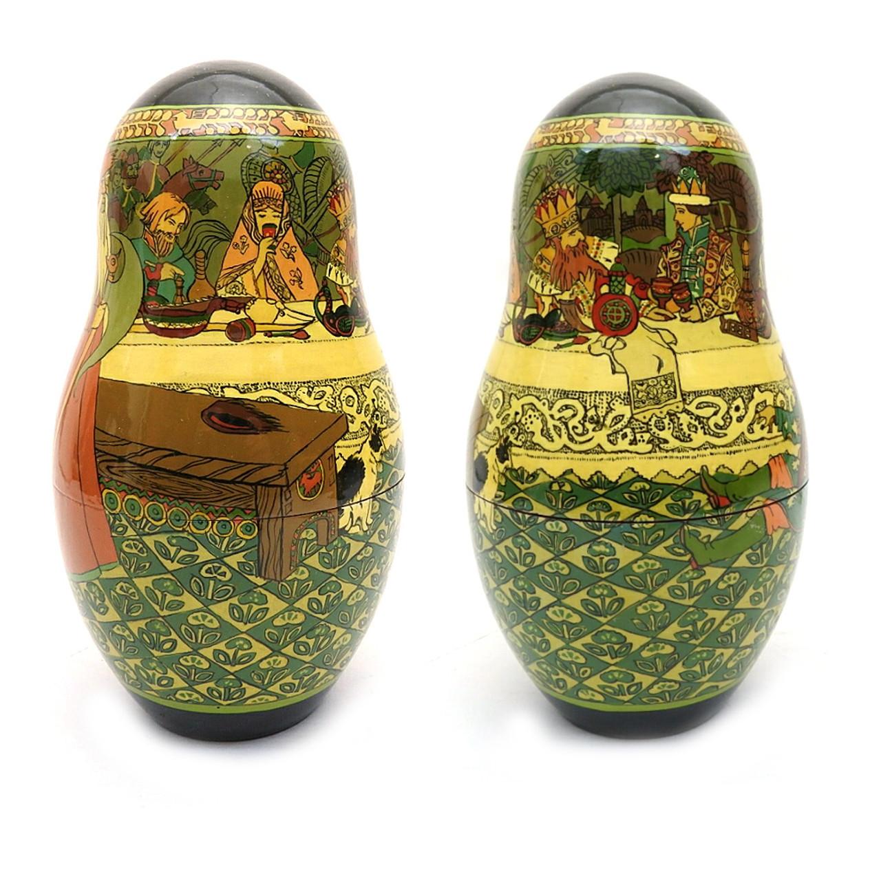 Tsar Saltan Bilibin Artistic Matryoshka   2nd Doll Front and Back