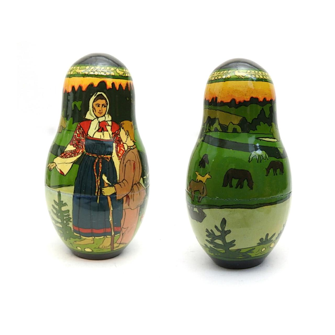 Tsar Saltan Bilibin Artistic Matryoshka  6th Doll Front and Back