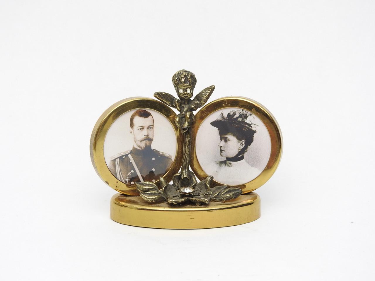 Brass Miniature Portraits Tsar Nicholas II and Alexandra