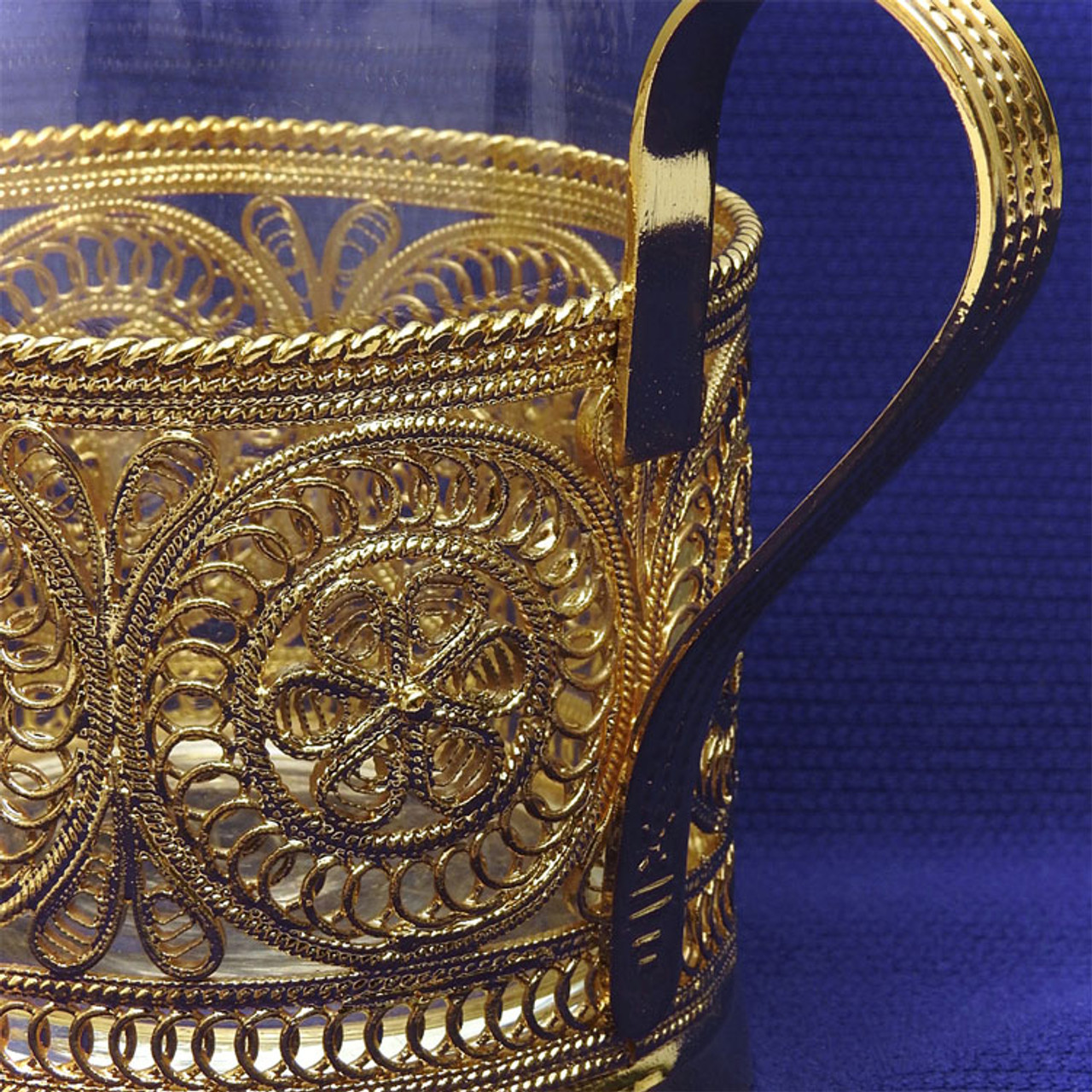 """Golden Aurora""  Russian Filigree Tea Glass Holder"
