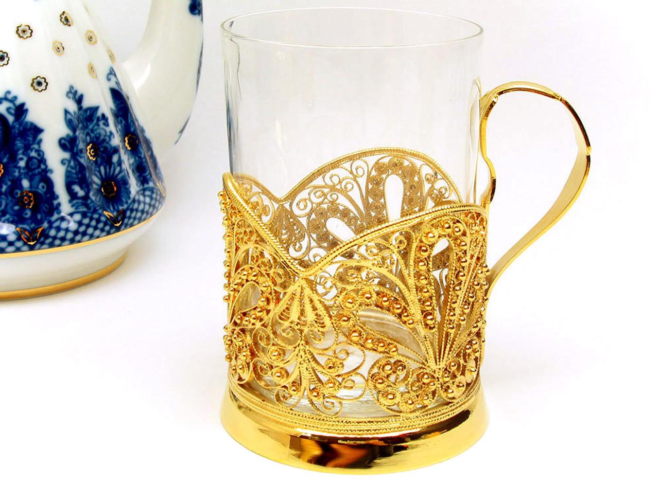 """Sunrise Sunset""  Russian Filigree Tea Glass Holder"