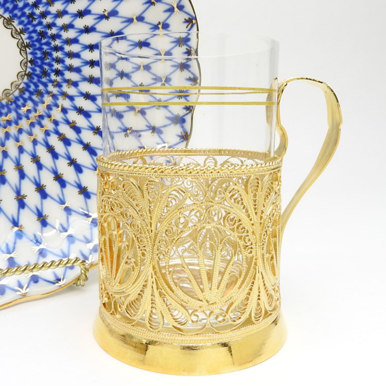 """Petrograd""  Russian Filigree Tea Glass Holder"