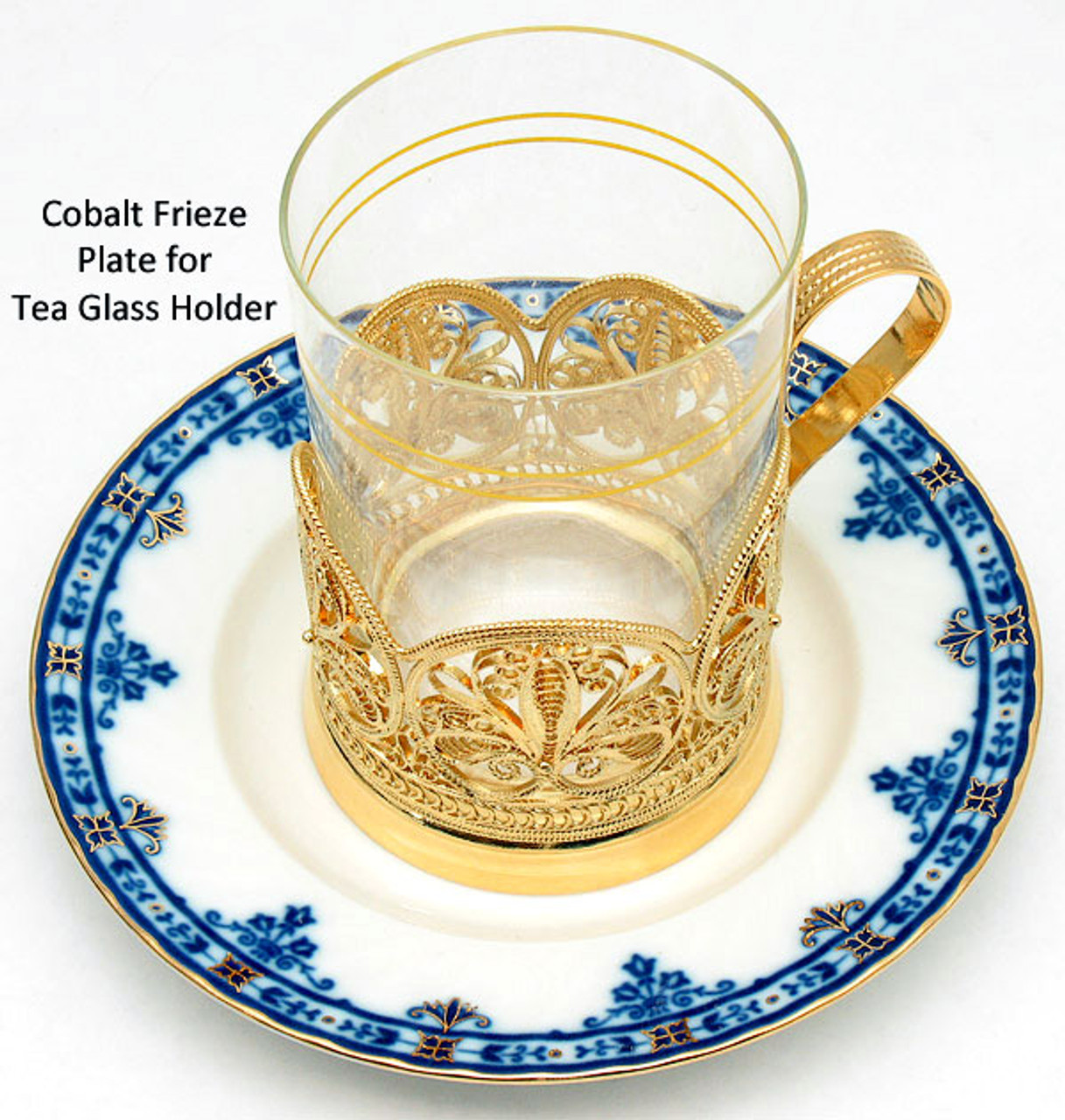 Cobalt Frieze Plate for Tea Glass Holder