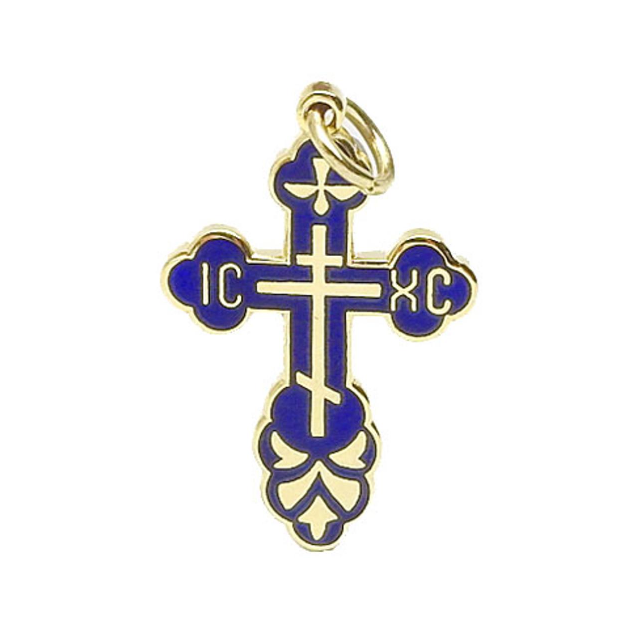 Small Blue Enamel Cross