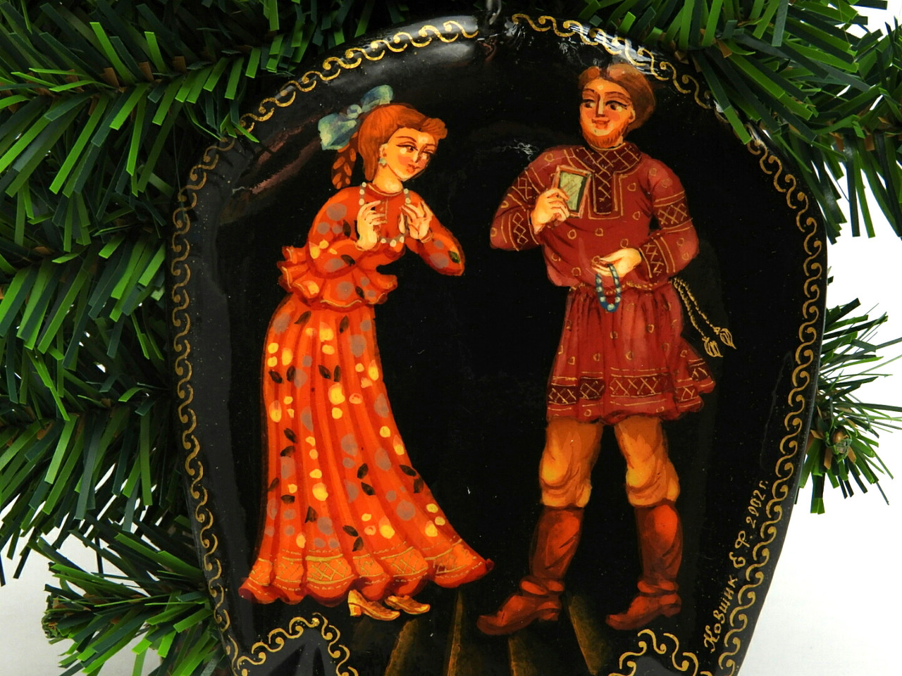 Russian Painted Christmas Ornament - Courtship
