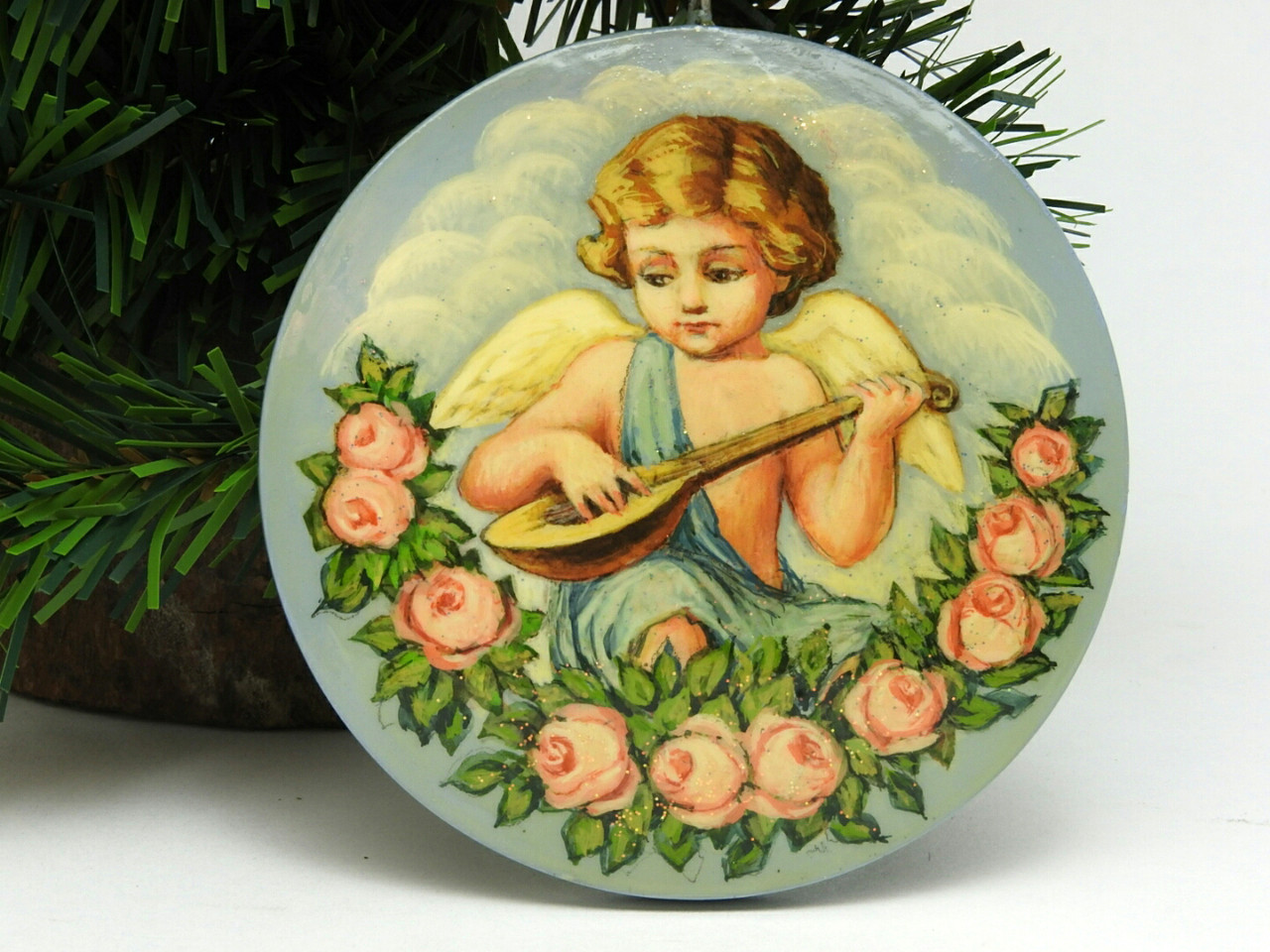 Russian Painted Christmas Ornament - Angel with Lute