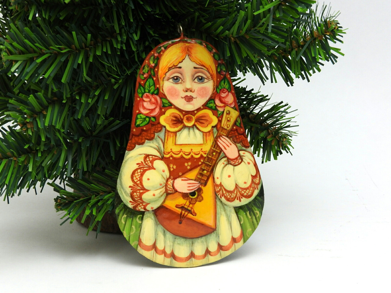 Russian Painted Christmas Ornament *Maiden with Balalaika