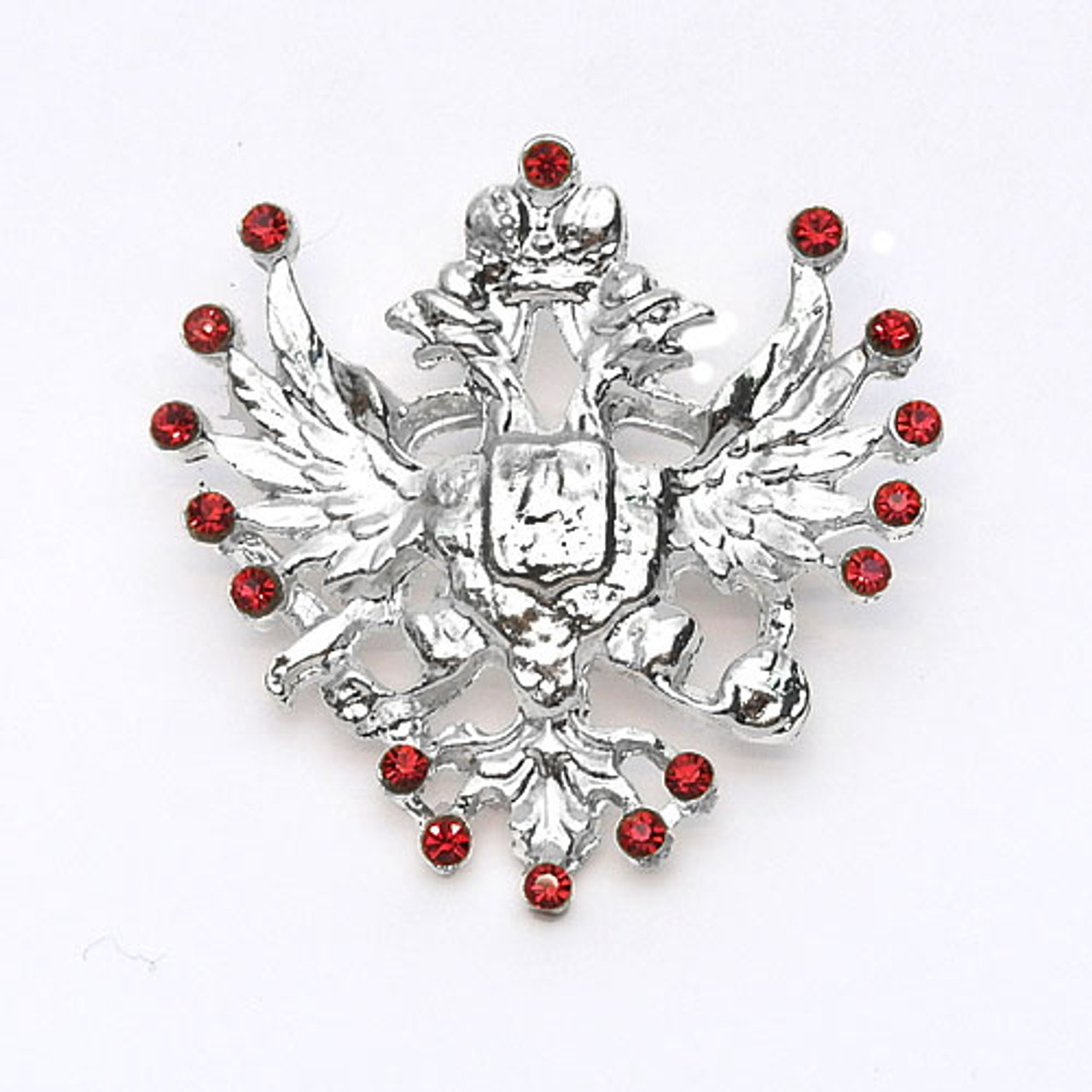Gem Studded Double-Headed Eagle Pin with Russian Romanov Tsars Crest  RED