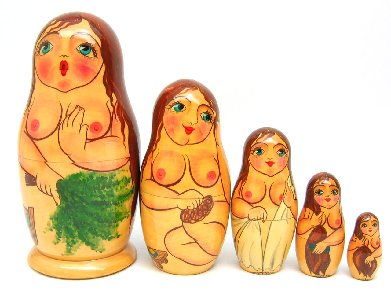 """""""Bathhouse Maidens"""" Russian Nesting Doll (Uncensored view)"""