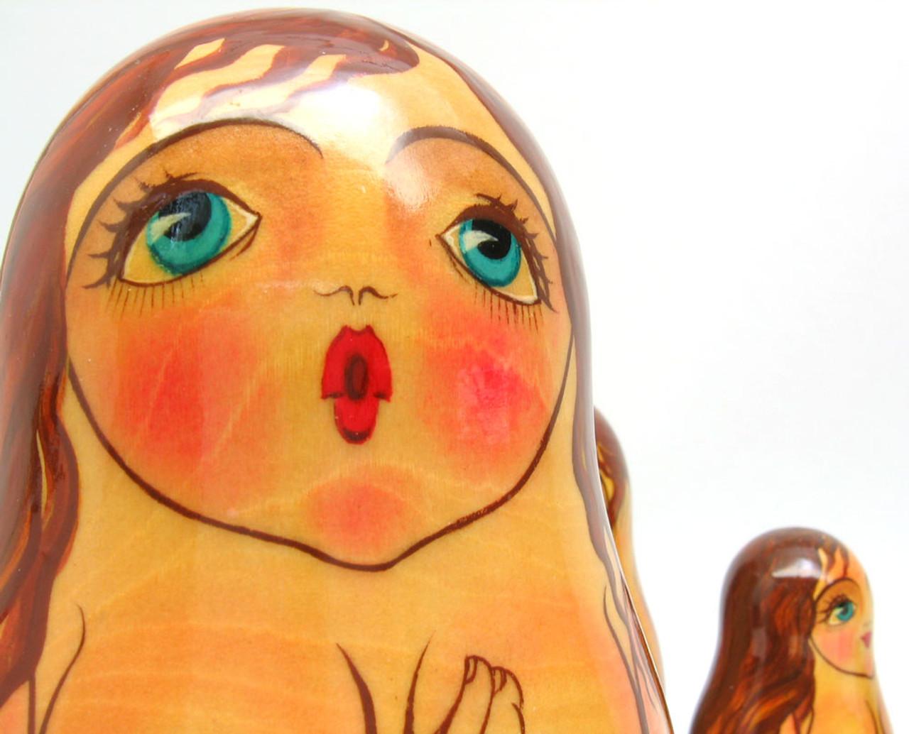 """Bathhouse Maidens"" Russian Nesting Doll Closeup"