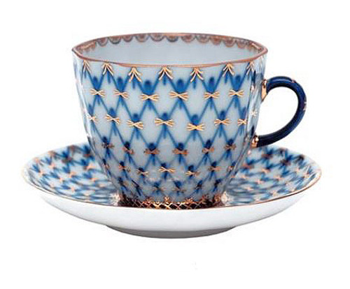 Cobalt Net Coffee Cup and Saucer