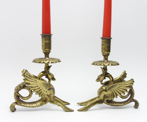 Winged Dragon Brass Candle Sticks - IRAA