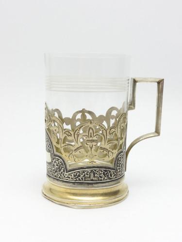 Antique Russian Niello Silver Tea Glass Holder