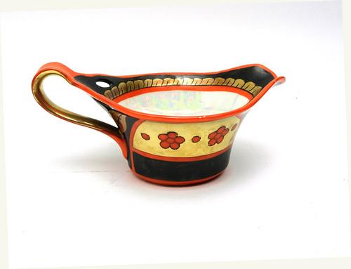 Vintage Porcelain Sauce Boat with Khokhloma Design