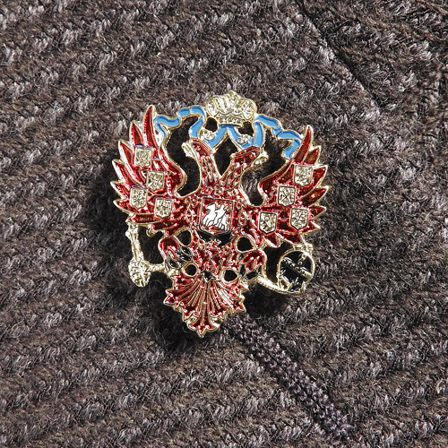 Enamel Russian Double Headed Eagle Lapel Pin