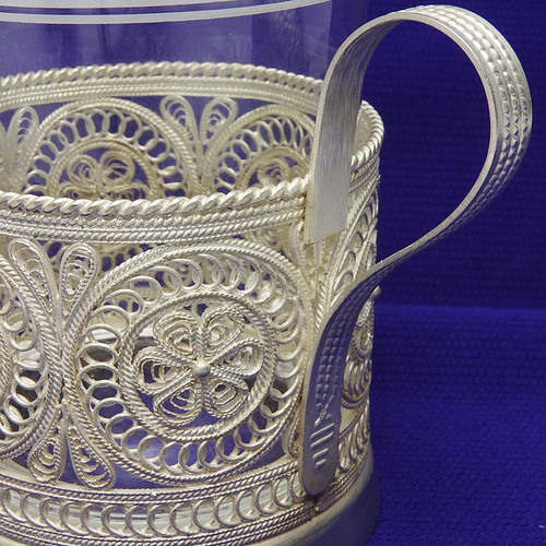 """Silver Aurora""  Russian Filigree Tea Glass Holder"