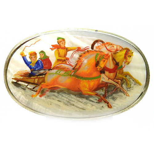 Troika Brooch (Fedoskino Mother of Pearl)