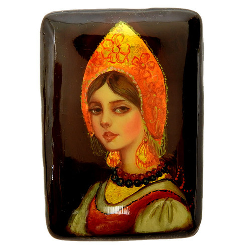 Young Woman with a Red and Gold Kokoshnik Lacquer Brooch