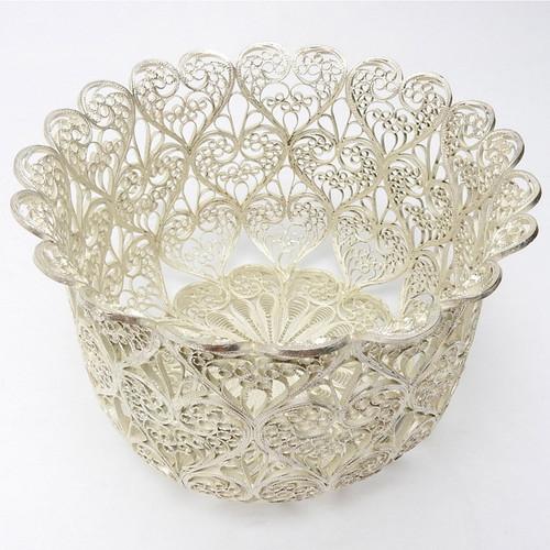 Russian Filigree Silver Basket