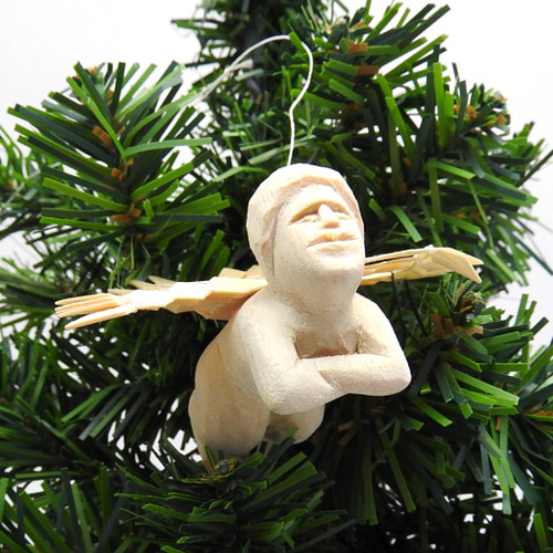 """Winged Cherub"" Carved Ornament"