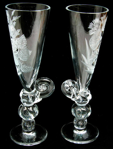 """""""Wedding Rings"""" Sparkling Wine or Champagne Flutes"""