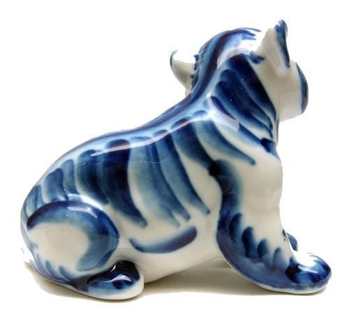 Tiger Cub Gzhel Figure