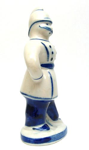 Policeman Wearing Helmet Gzhel Figure