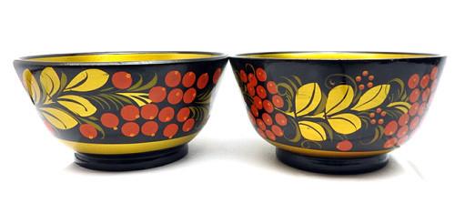 Khokhloma Small Bowls, matching pair