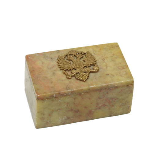 Small Keepsake Box Imperial Russian Eagle Sand Tan