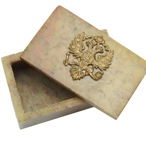 Small Keepsake Box Imperial Russian Eagle Sand Tan