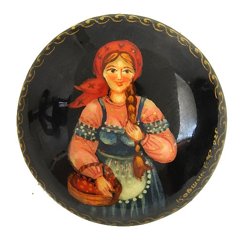 Russian  Lacquer Brooch Berry Picking