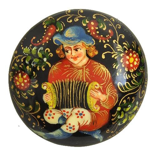 Russian  Lacquer Brooch Festive Bayan
