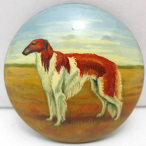 Russian  Wolfhound Borzoi Hand Painted Lacquer Brooch