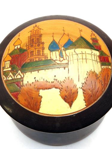 Vintage Trinity Monastery of St. Sergius Round Box