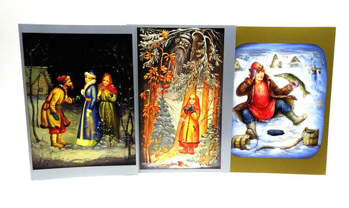 Russian Lacquer Paintings Christmas Cards [Box of 12]