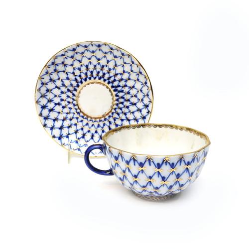 Cobalt Net Teacup and Saucer, USSR era