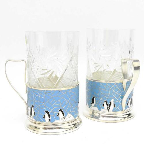 """Enamel Tea Glass Holders """"Penguins"""""""